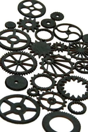 interlink: Various gears with interlinking teeth and cogs Stock Photo