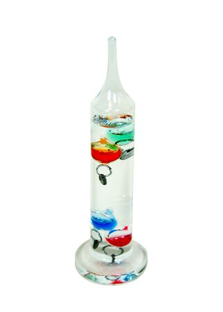 measured: Galileo Thermometer which uses the movement of precisely measured balls to determine the temperature Stock Photo