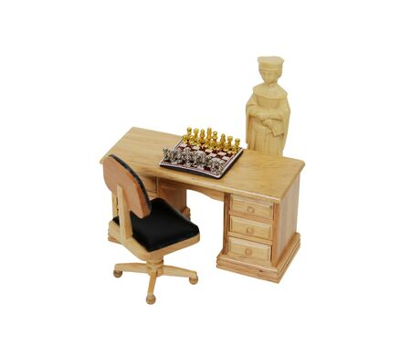 specific: Chess is a strategy game involving specific rules and regulations played by two players, this time played by a queen from another set in an office environment Stock Photo