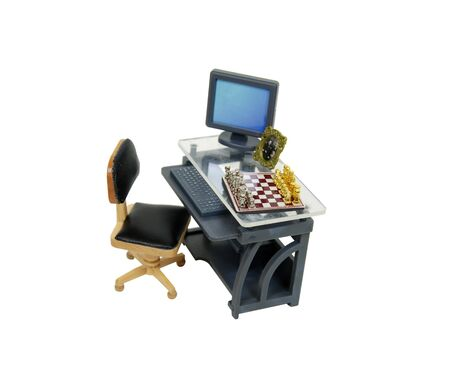 old items: Desk and office items where ideas come to life containing old photo for the past, a chess set for present, a computer for the future