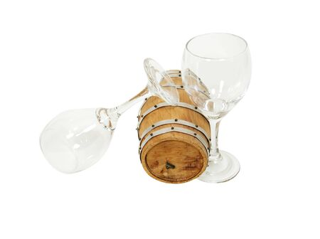 glasswear: Wooden oak barrel used for storing and making wine and two wine glasses