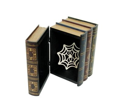 resemble: Large wooden block hollowed and carved to resemble a book filled with a spider web Stock Photo