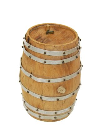 oak barrel: Wooden oak barrel used for storing and making everything from wine to whiskey Stock Photo