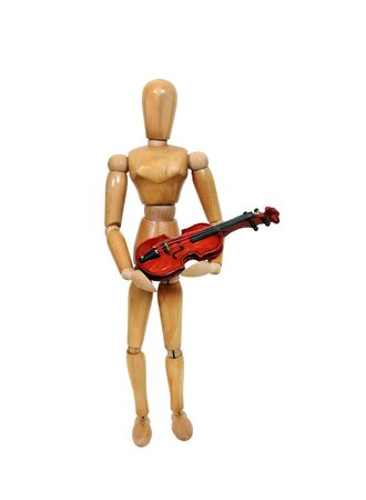 Figure holding out a stringed wooden violin instrument in his arms - Path orig size Stock Photo - 4490939