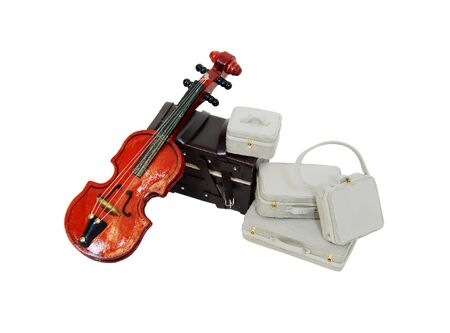 Stringed violin instrument next to a set of luggage and a trunk-Path orig size Stock Photo - 4490953