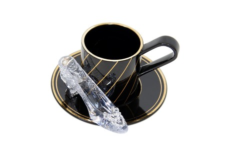 dainty: Formal tea cups with a delicate china pattern for drinking tea with a side of crystal slipper for fashion statement-Path orig size