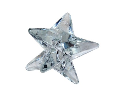Crystal star with many points and facets that reflect light-Path orig size
