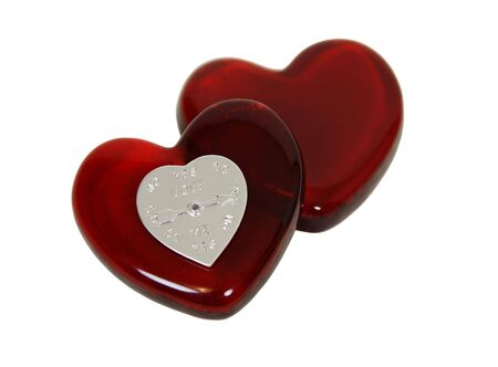 indicates: Love indicator made of a silver heart with an arrow that indicates the feelings of another