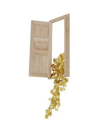 jailer: Wooden interior door with five panels used to gain entrance to another room with golden keys spilling out