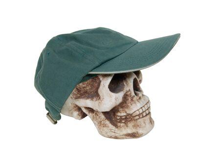 Dark heavy baseball cap with wide brim on a skull