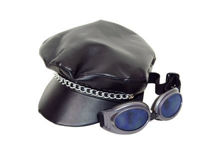 Goggles and biker cap worn as a fashion accessory and to protect the head-Path included Stock Photo - 4631909