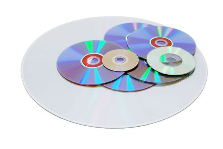 retrieving: Several disks of various sizes and different formats for storing and retrieving data-Path included