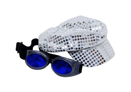 era: Cap with reflective pieces of sparkle reminiscent of the disco era and a pair of goggles to help go incognito-Path included Stock Photo