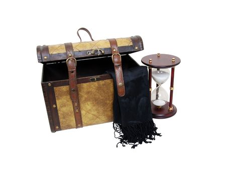 treasured: An old traveling case of leather and wood filled with old treasured memories with an hour glass to designate time passing-Path included