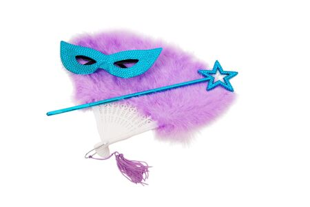 theatrics: Sparkly gemmed mask and star wand with possible magical abilities on a feathered fan