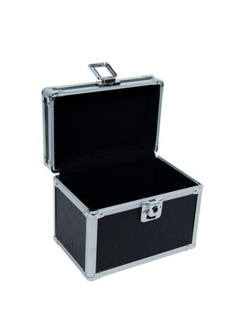 Open black case with metal reinforced corners for stability and strength