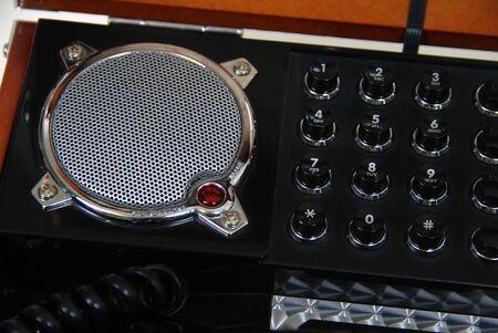 Reflector antieke telefoon push knoppen voor kies nummers en luidspreker