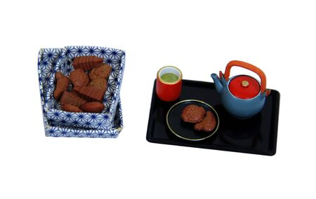 biscuts: Tea set, biscuts and cookies for a relaxing afternoon repast - Path included