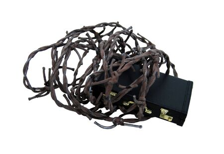 guerilla: Leather briefcase used to carry items to the office wrapped up in barbed wire-Path included Stock Photo