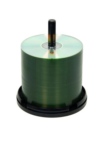 retrieving: Stack of CD computer disks on a spindle for storing and retrieving data-Path included Stock Photo