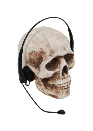 Headphones with a built in microphone for making communication convenient on a skull-Path included Stock Photo