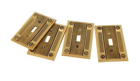 cornice: Light switch covers with formal pillar cornice designs along the sides - Path included Stock Photo