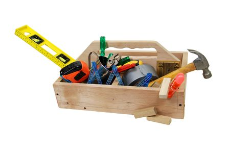 Tools used for fixing and repairing items for continued use and performance in a handmade toolbox for convenience - Path included