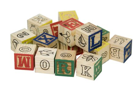 Wooden blocks toys with drawings and letters that can be combined together to form words