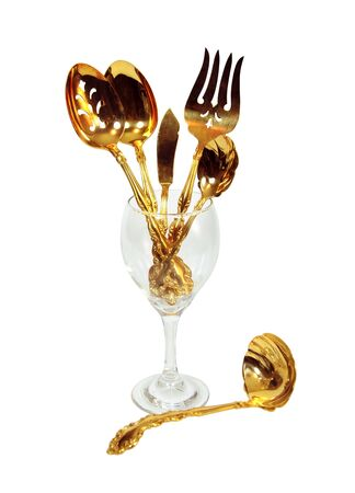 glasswear: Wine glass and goldware sets off a luxurious table for that special touch for a formal meal