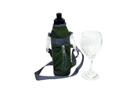glasswear: Imitation military style water bottle with zippered section to keep hydrated while outdoors and a wine glass Stock Photo