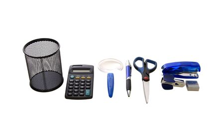 office stapler: A variety of office tools including utility holder, pen, scissors, stapler, and calculator - path included