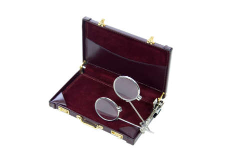 enhance: Clip on lenses that help enhance and magnify items clipped onto a briefcase - path included