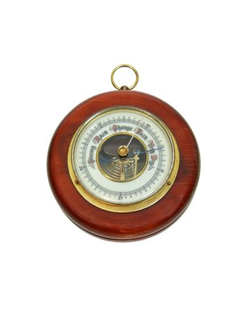 atmospheric pressure: Antique aneroid barometer with mechanical levers used to measure atmospheric pressure changes