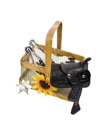 Country basket with a saddle made of heavy black leather, silver spurs, and a sheriff badge