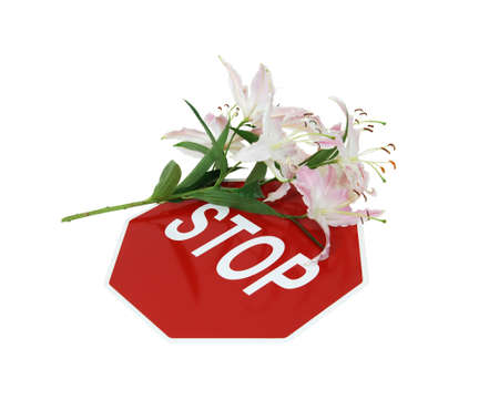 cautionary: Lily covered stop sign is a traditional safety and cautionary measure so that every shares the road