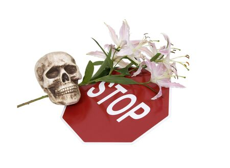 cautionary: Stop sign is a traditional safety and cautionary measure so that everyone shares the road, surrounded by lilies and a skull