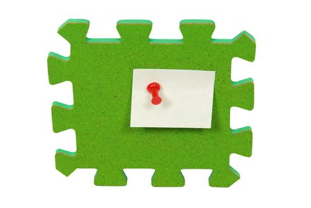 Bright corkboard puzzle piece used to hold notes with thumb tacks - path included