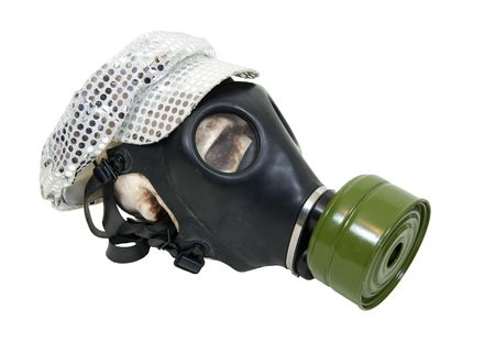 Gothic skull wearing an industrial gas mask and a disco sparkley hat displaying diversity of cultural genres