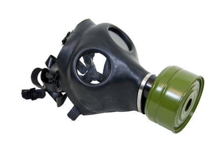 Rubber gas mask to protect the wearer from airborne pollutants and toxic gases