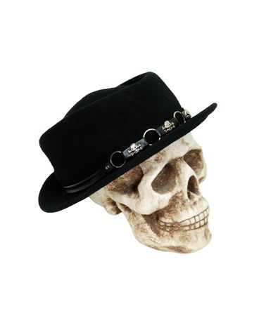 head protection: Black hat to be worn on the head for protection and fashion on a skull