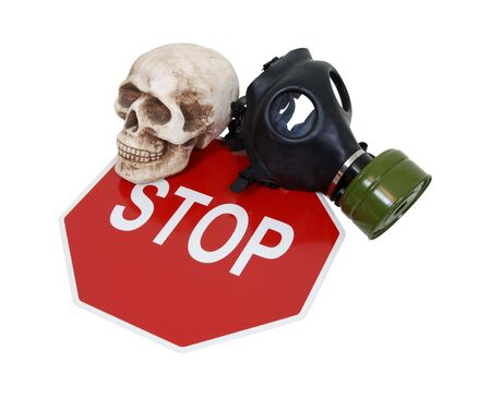 cautions: Rubber gas mask to protect the wearer from airborne pollutants and toxic gases, skull and a stop sign used to protest safety regulations and concepts