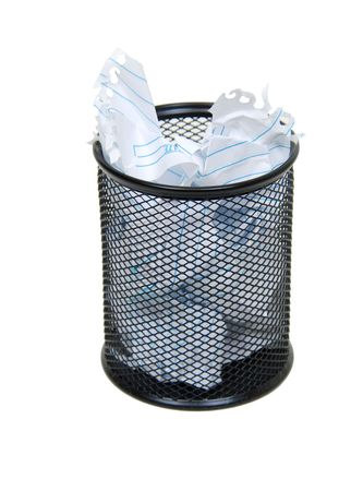 Metal mesh garbage container for rubbish and discarded items full of paper