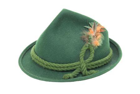 伝統的なグリーンのフェルト ロープひねりと明るい羽ドイツのアルペン帽子 写真素材