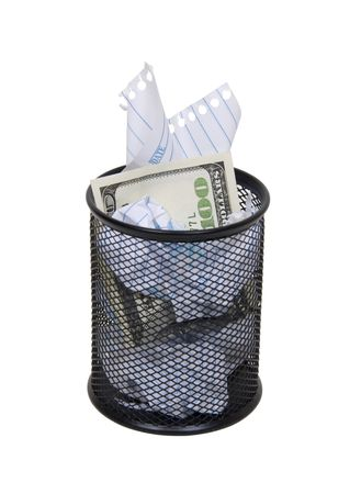 discarded metal: Metal mesh garbage container for rubbish and discarded items hiding large amounts of money Stock Photo
