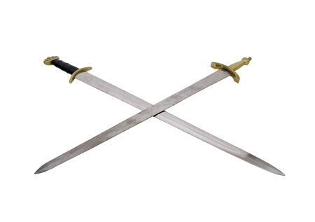 sturdy: Crossed Swords with sturdy hilts are a sign of power and respect - included Stock Photo