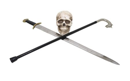 handled: A skull with a sword crossed with a silver handled wolf cane used for walking with security - included