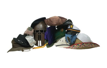 requires: Life often requires us to wear many hats to get the job done  Stock Photo