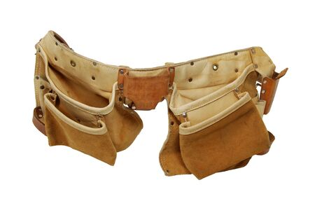 tooled: Leather tool belt and bag for carrying items conveniently while working Stock Photo