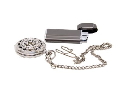 luxuries: Formal and elegant pocket watch and a lighter for cigars and other luxuries  Stock Photo