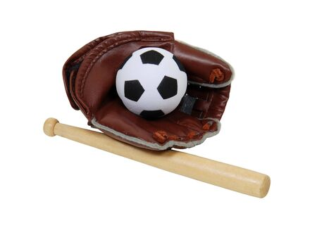 appropriate: Baseball is the national pasttime for summer afternoons on warm fields but can not be played with a soccer ball Stock Photo